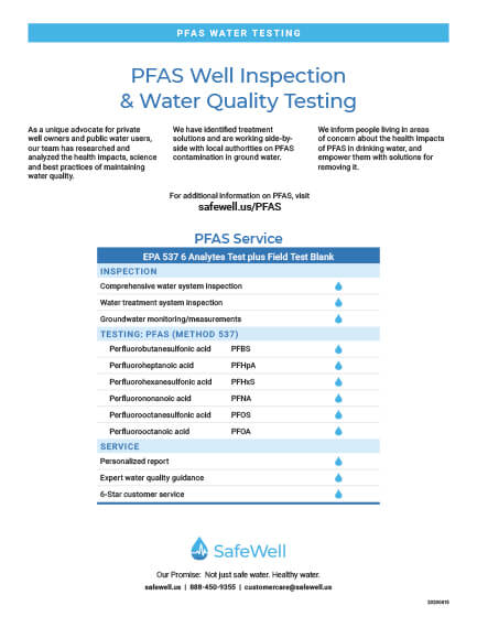 SafeWell PFAS Well Inspection & Water Quality Testing